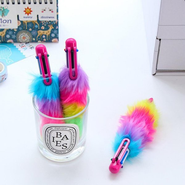 Creative 6 Colors Plastic Students Stationery Plush Multicolor Ballpoint pen