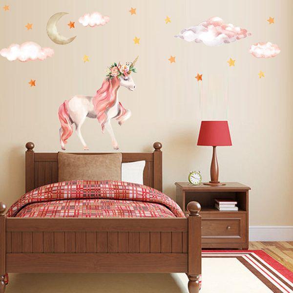 Newest Flexible Size Fancy Unicorn Wallpaper Animal Cartoon Star Diy Kids  Bedroom Decorations Kindergarten Nursery Home Decor Wall Stickers Wall Art  ...