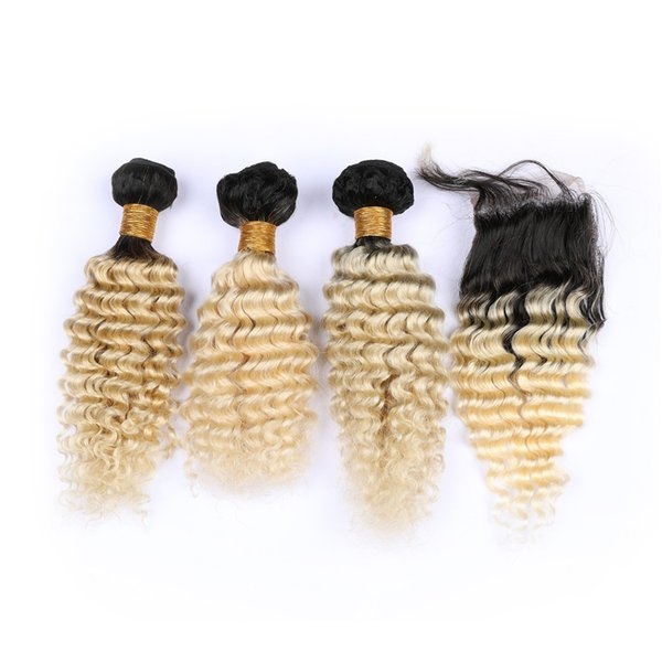 Deep Wave Brazilian Hair 3bundles With Closure Two Tone 1B 613 Dark Roots Ombre Blonde Human Hair Weaves With Deep Curly Lace Closure