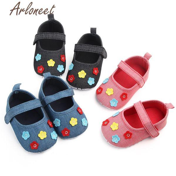 Детская обувь Girl Soft Canvas Sneaker Цветочные принты для девочек Подошва Детская кроватка comfortasas Подарок для малышей
