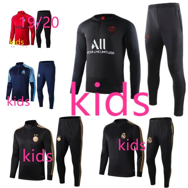 19 20 Kinder Trainingsanzug Set Boysfootball Training Real Madrid Fußball Trainingsanzug 2019 2020 PSG Enfant Survetement de Foot Jogging Kind