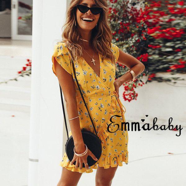 Sommerkleid 2018 Frauen Sexy Tiefem V-ausschnitt Gelb Blumendruck Kleider Rüschensaum Falten Böhmischen Stil Gürtel Mini Strandkleid