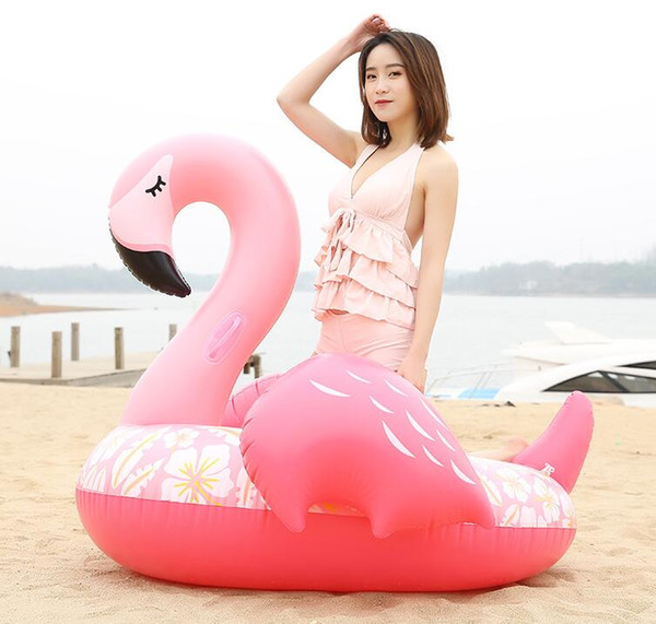Summer water sports inflatable flamingo raft mattress swim pool floating pvc seat ring tubes inflatable water animal boat toy beach chair