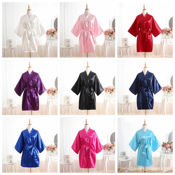 атлас ночной халат для женщин чистый цвет атлас короткий шелковистый халат пижамы ночная рубашка пижама кимоно халаты подружки невесты домашняя одежда