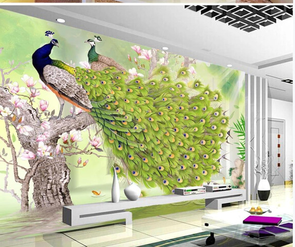 Green peacock rich flower and bird Chinese background wall wallpaper for walls 3 d for living room