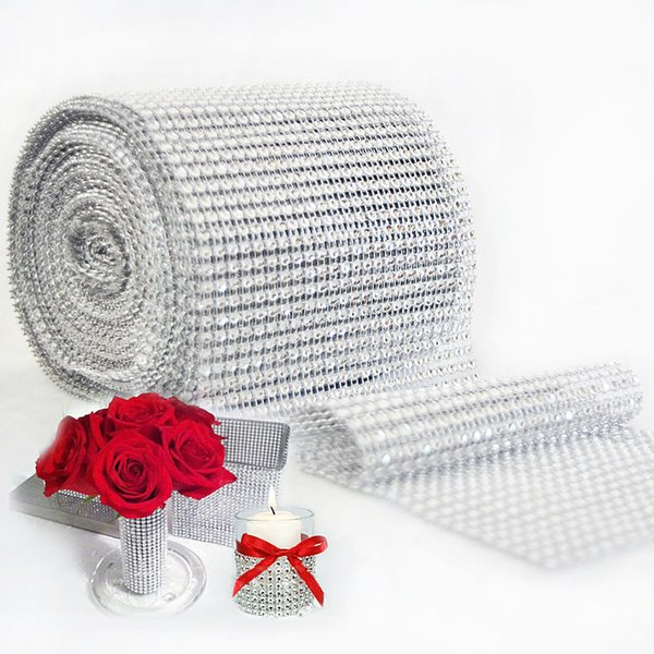 1 yard/90cm Bling Diamond mesh Wrap ribbon silver Rhinestone Mesh Roll Tape Tulle Crystal Ribbon cake wedding decoration
