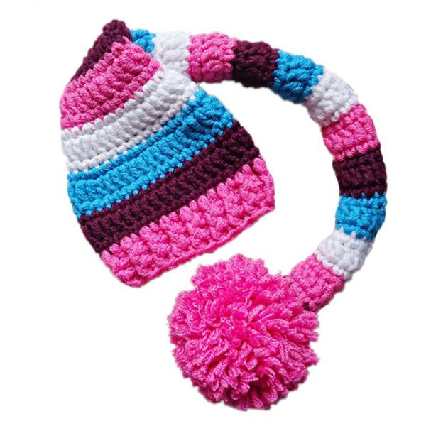 Crochet Baby Elf Hat,Handmade Knit Baby Boy Girl Striped Stocking Hat with Pom Pom,Kids Spring Winter Beanie,Infant Newborn Photo Prop