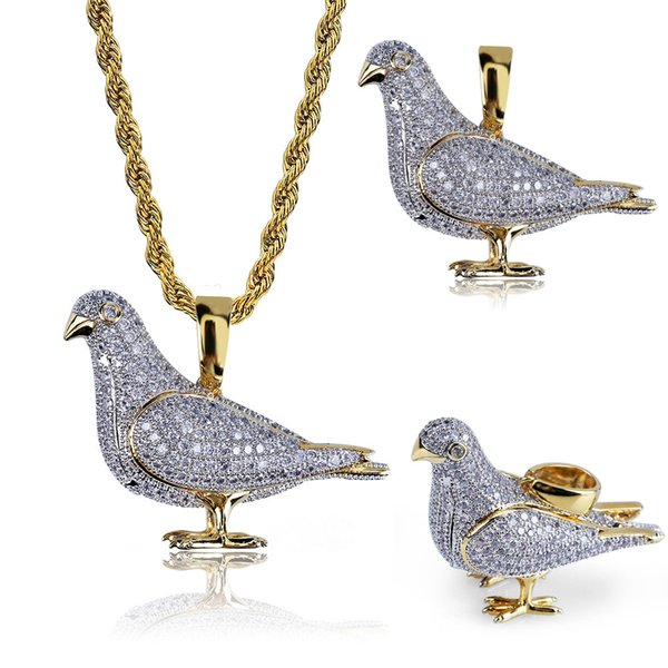 24 Inch Jewelry Iced Out Personality Pigeon Pendant Necklace 18K Gold Plated Bling CZ Simulated Diamond Hip Hop Necklace for Men Women M091F