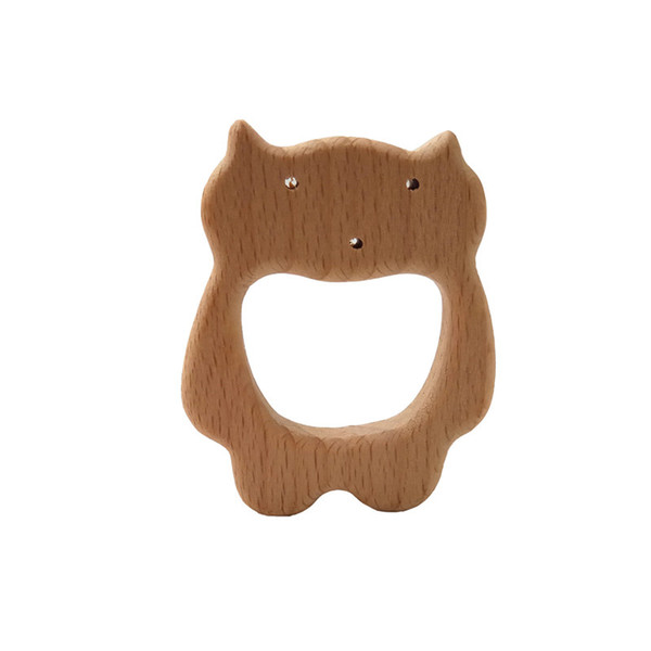 4pcs Baby Teether Beech Wooden Cat Teether Baby Teething Toy Teething Accessories Kids Teething Pendant Nursing Holder Toy