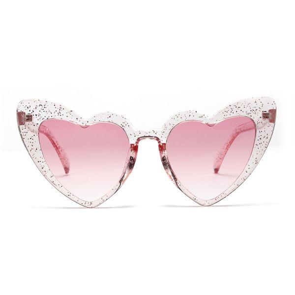 Occhiali da sole Pink Love Fashion Occhiali da sole a cuore color pesca Occhiali da sole a forma di cuore colorati a forma di cuore per donna Uv400