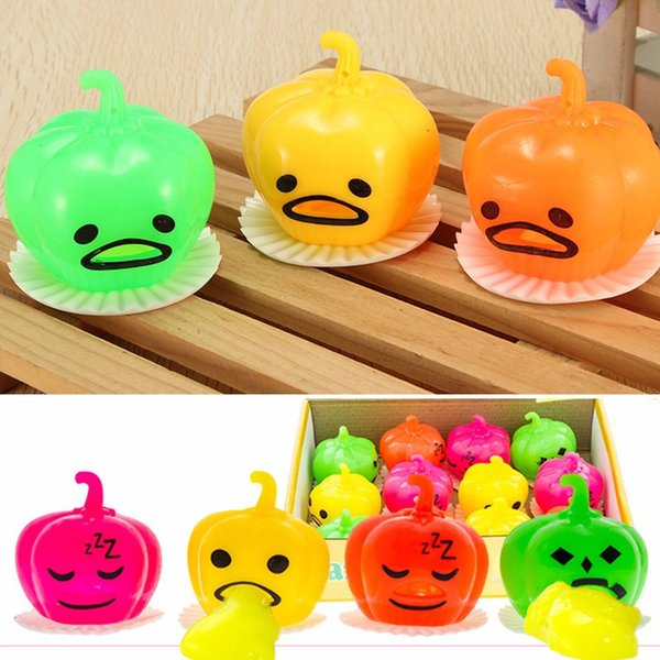 Stylish Soft Squeeze Pumpkin Bright-up Vomitive Slime Shiny Toys Stress Reliever Fun Gift Desk Decor Gadget Phone Straps Squeeze pumpkin