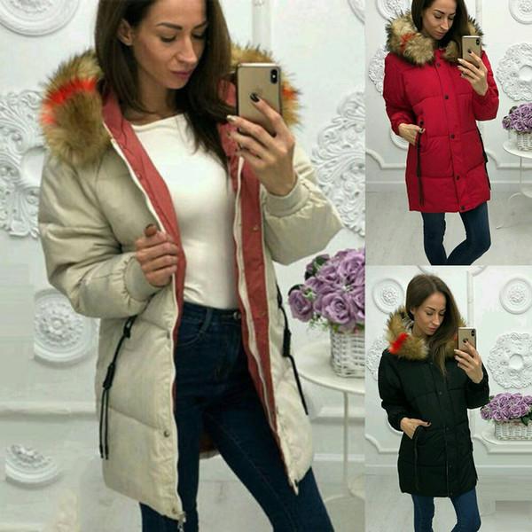 Fashion Warm Faux Fur Collar Hooded Jacket Parka Overcoat Women Winter Long Coat Outerwear Ladies Solid Color Slim Coats Parkas