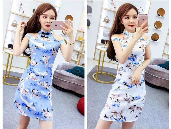 2 cores verão 2019 nova impressão cheongsam dress gola mangas divisão de cintura alta saia curta qc0145