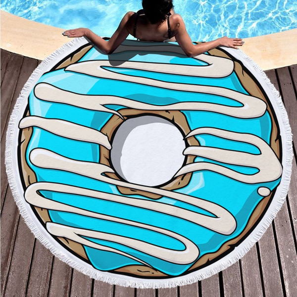 For Adults Swimming Pool Towel 150cm Round Beach Towel Pineapple Donut  Pizza Circle Towel Beach Blanket Bath Mats Personalized Bath Towels  Decorative ...