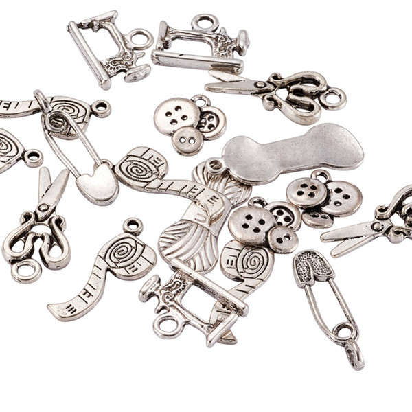 Tibetan Style Alloy Pendants Sewing Knitting Themed Scissor/Pipe/Safety Pin/Yarn Clew/Button/Sewing Machine Charms DIY Jewelry