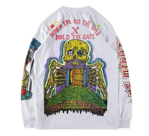 2019ss Kanye West Season 6 Long Sleeve T-Shirt Men Women Graffiti Skull XXXTENTACION Hip Hop Season six T Shirts Streetwear size S-xl