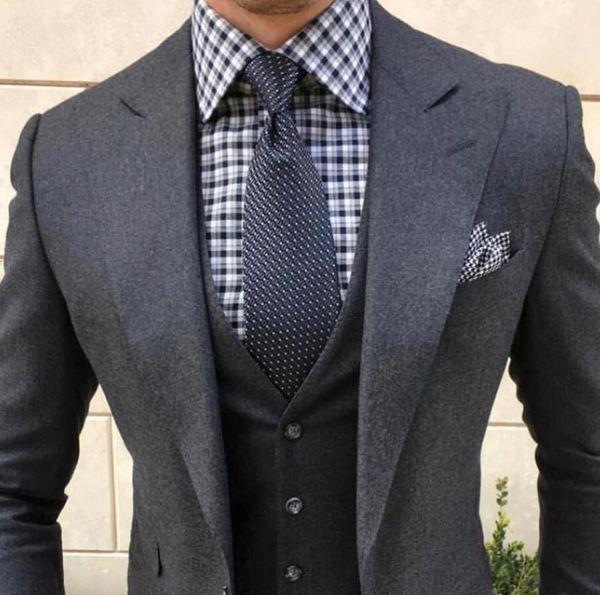 Wool 2019 Wedding Tuxedos Vintage Dark Grey Tweed Wool Herringbone Mens Business Suit Jacket + Pants + Vest Men's Suits Spring Groom