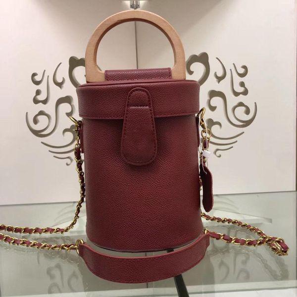 2019 new Hot Fashion Women Handbags Chain Crossbody Bag Genuine Leather Handle Shoulder Mini Bucket Bags Designer Coin Pruse Tote 18cm
