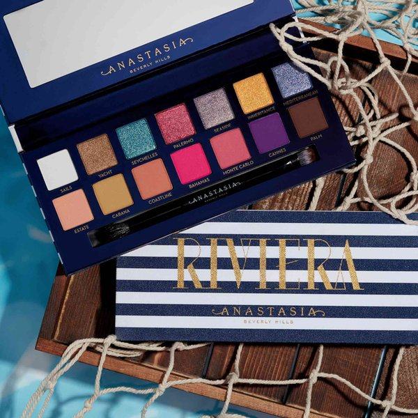 New Arrivals Makeup Riviera 14 colors eyeshadow palette with brush beauty shimmer matte eye shadow hills palette free shipping