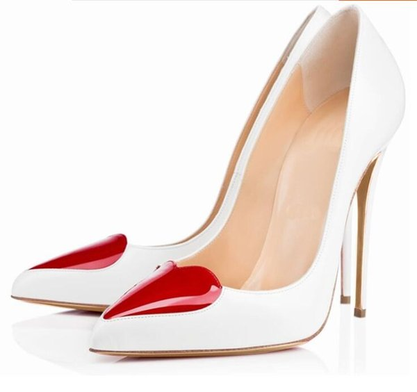 Concise Style Women Patent Leather Red Heart Pointed Toe Shallow Pumps Office Lady Slip On High Thin Heel Dress Shoes Free Ship