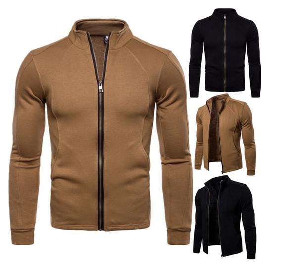 2019 moda nuova vendita calda degli uomini casuali giacca stand zipper cappotti maschio tuta sportiva autunno soprabito streetwear manica lunga veste homme100