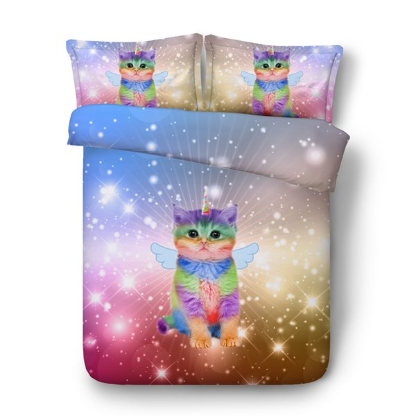 Star Blue Bedspreads King Size Green Bedroom Decor 3 Piece Bedding Set With 2 Pillow Shams Cat Unicorn Bedding Full Cat Duvet Cover Twin