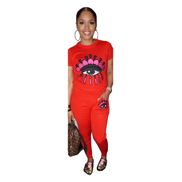 Bayan Uzun Pantolon Eşofman Büyük Göz Baskı 2 Parça Kıyafetler Casual Suit Kısa Kollu T-shirt + Tozluk Spor Seti Tasarım Giysileri C41704