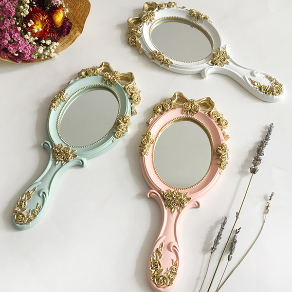 1 pz Carino Creativo in legno Vintage Specchi per le mani Trucco Specchio per il trucco della mano di rettangolo specchio cosmetico con maniglia per i regali
