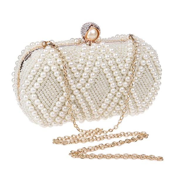 Elegant Ladies Evening Clutch Bag with Chain Pearl Shoulder Bag Women's Handbags Purse Wallets for Wedding Dinner
