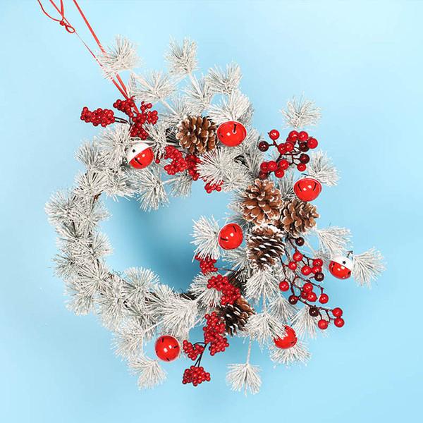 Window Decoration Door Bell Pine Cone wreath garland rings 55CM Red Fruit Christmas Decoratio wreath hair wianek wielkanocny