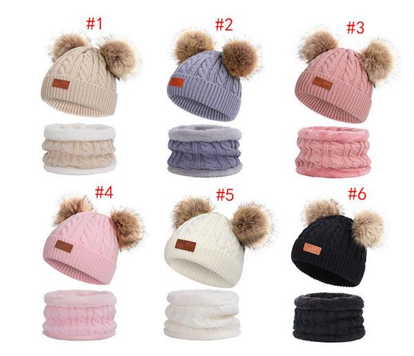 Kids Knit Hat Scarf Set Fashion Winter Pom Pom Knitted Beanie Fleece Hats Thick Crochet Scarves Outdoor Warm Ski Caps