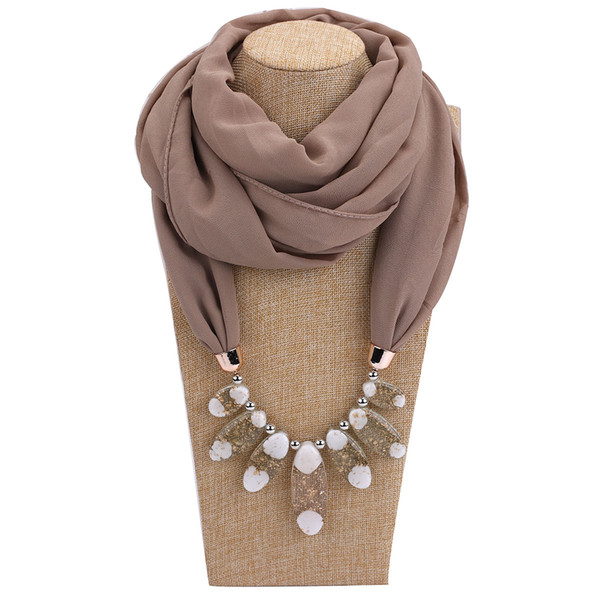 New Style Statement Necklace Vintage Nature women Stone Pendant Necklace Resin jewelry Scarf Beads Ethnic Jewelry
