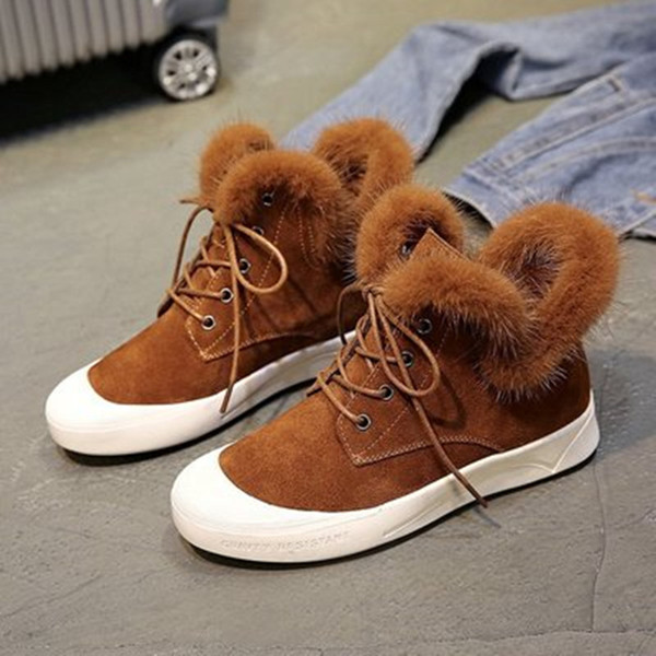 Snow Boots Leather Ankle Boots Warm Winter Fashion Woman Flat Black Brown Shoes Female Lace-Up Solid Sneaker Black Soft Inside Shoes