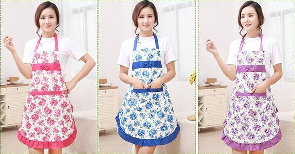 best selling New Printed Apron with Pockets Waterproof Floral Bib Kitchen Soil Release Bowknot Home Textiles Breech Cloth SN1188