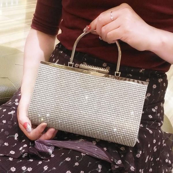 2018 nuevos bolsos del diamante de la moda de las mujeres del estilo bolsos hechos a mano femeninos del partido de tarde