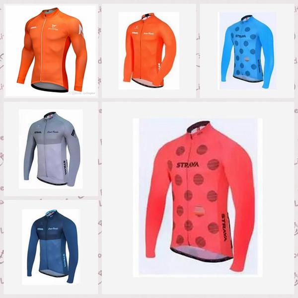 Equipo de STRAVA hecho a medida Ciclismo mangas largas jersey Cómodo deportes al aire libre a prueba de viento transpirable ciclismo de los hombres desgaste S639