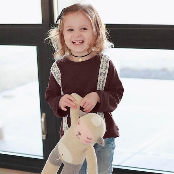 Suéter para niños Ropa para bebés Niños Niñas Sudadera con capucha Color sólido Encaje Camisetas de manga larga Niños Ropa para niños Q465