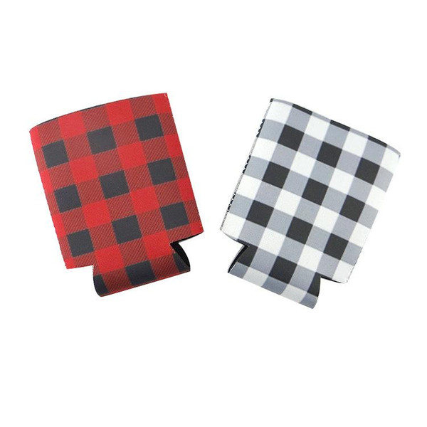 Red Black Plaid Can Covers insulated Neoprene cup cover colorful types drinks Cooler Bag household kitchen tools LJJQ110