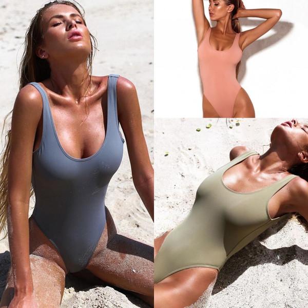 2019 Yaz Backless One Piece Mayo Kadınlar Seksi Mayo Bayanlar Plaj Mayo Mayo Bikini Bodysuit Yastıklı Bras SO0502