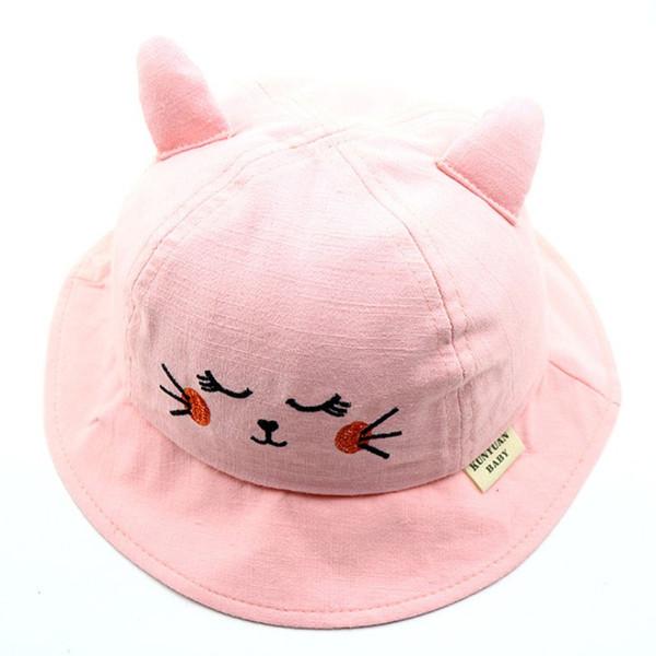 2019 Kids Boys Girls Cartoon Bear Fisherman Hat Ear Decorative Cap Bucket Hats Reversible Sun Headwear Holiday Candy Color Hat