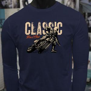 CLASSIC RACE STUNT CLUB DUCATI New BIKES Mens Navy Long SNewve T Shirt