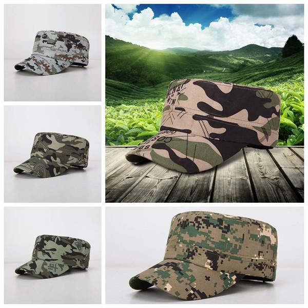 Camouflage Sport Baseball Caps Schweißaufnahme Atmungs Unisex Ball Caps Flache Kappe Camping Visier Sonnenhut Outdoor Hysteresen CCA11787 100 stücke
