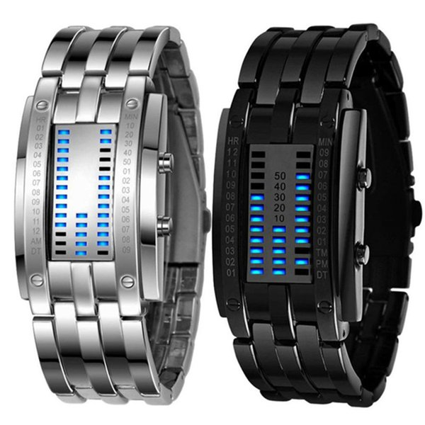Luxury Women Stainless Steel Date Digital LED Bracelet Sport Watches Free Dropping montre homme clock stainless steel au4