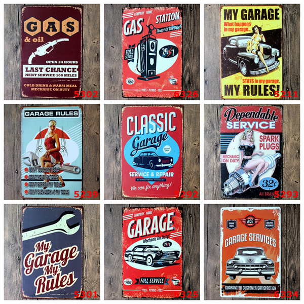 20*30cm Vintage Metal Tin Signs 39styles Wall Decor AUTOS Cars Iron Paintings Car Tin Plate Pub Bar Garage Home Decoration AAA1352