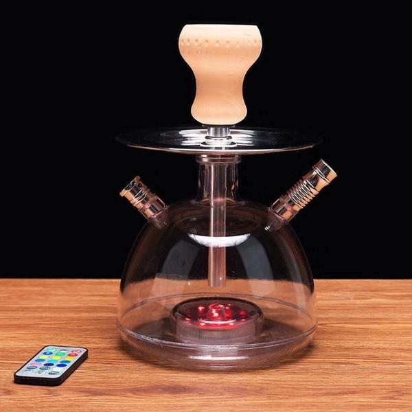 Кальян с двойным шарниром, кальян, курительная трубка со стеклянным бонгом, арабский стволовый инструмент, масляная буровая установка, светодиодная лампа, два шланга, алмаз