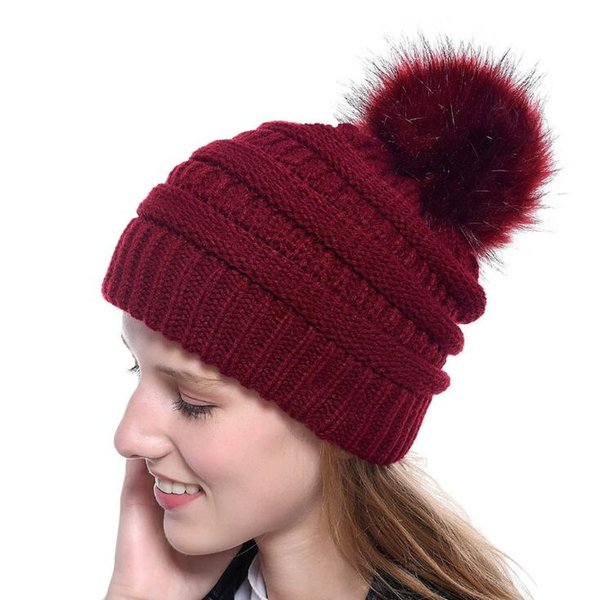 New Winter Knitted Beanies pom poms Wool Caps Warm Ear Cotton Black White Grey Fashion Hats for Women and Girls Accessories