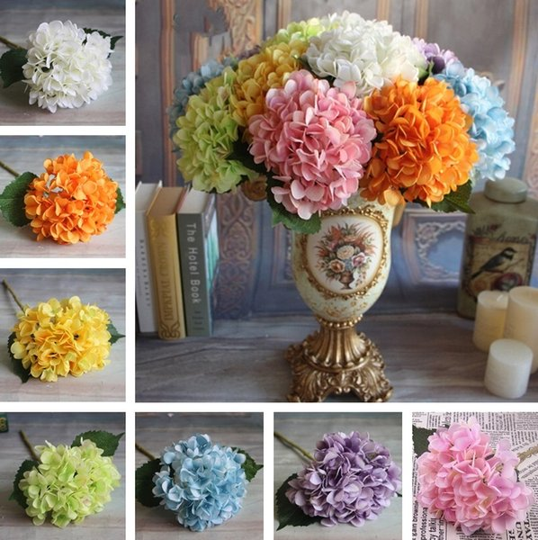 Vente en gros-Artificielle Hortensia Fleur Faux Soie Simple Hortensias multi Couleurs Pour Mariage Pièces maîtresses Maison Partie Fleurs Décoratives A0742