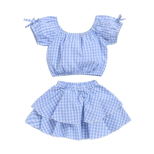 Bebek kız Ekose kıyafetler çocuk kafes baskı üst + etekler 2 adet / takım 2019 yaz moda Butik çocuk Giyim Setleri C5979