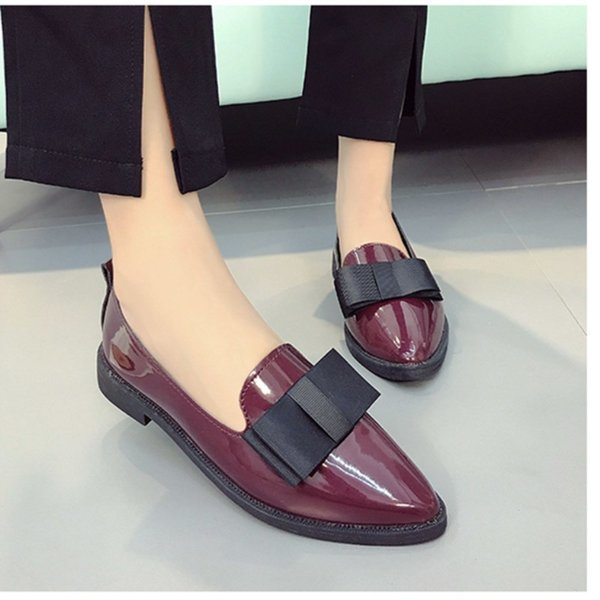 Designer Dress Shoes Shuangxi.jsd 2019 Summer Designer Women Luxury Wild low-heeled Pointed Shallow mouth Casual Leather Zapatos mujer