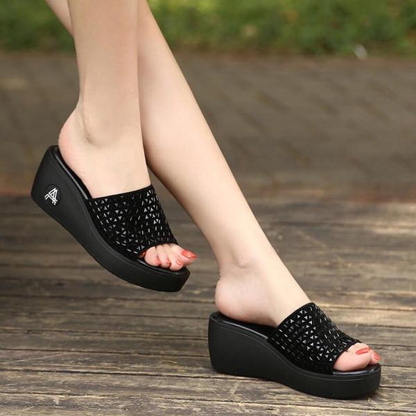 2019 Mujeres Verano Moda Simple Iopen Toe Slip On Wedges Plataformas Zapatillas Retro Peep Toe Zapatillas Para Calzado Diario # b20
